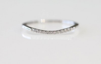 14k White Gold Diamond Curved Band