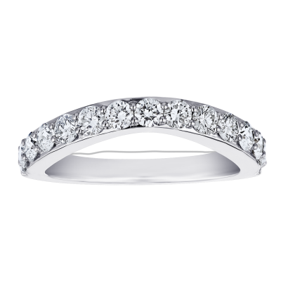 14kw .75ct tw 11 Stone Curved Band