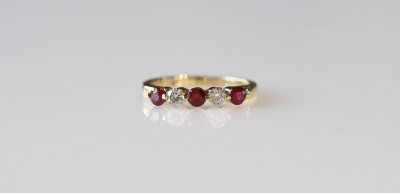 5 Stone Ruby and Diamond Shared Prong Band