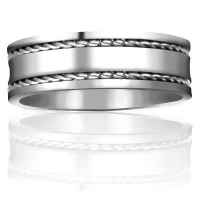 Titanium Wedding Band with Knot Ropes