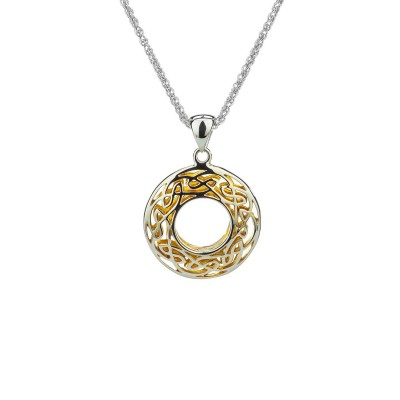 Ss & 22K Gilded Window To The Soul Small Round Pendant