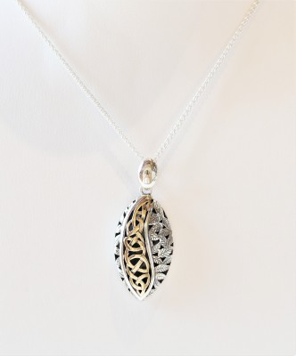 SS/10k Oxidized Eternity Leaf Pendant