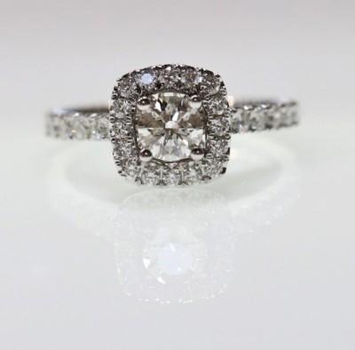 1.25CTW Lab Grown Sq. Halo Diamond Engagement Ring