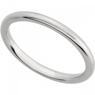 14 K White Gold Comfort-Fit Plain Wedding Band 2mm