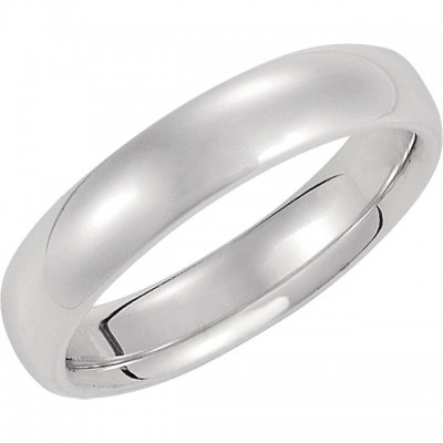 14K White Gold Comfort-Fit Plain Wedding Band 5mm