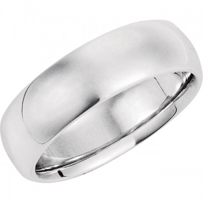 14K White Gold Comfort-Fit Plain Wedding Band 7mm
