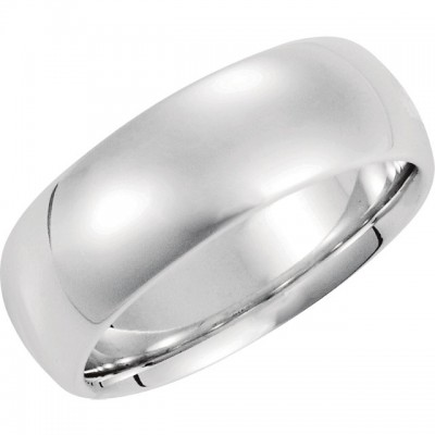 14K White Gold Comfort-Fit Plain Wedding Band 8mm