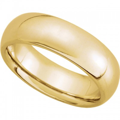 14K Yellow Gold Comfort-Fit Plain Wedding Band 6mm