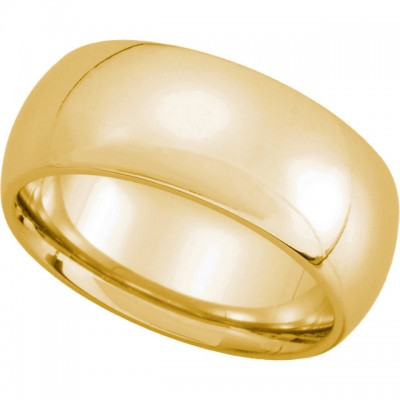 14K Yellow Gold Comfort-Fit Plain Wedding Band 8mm