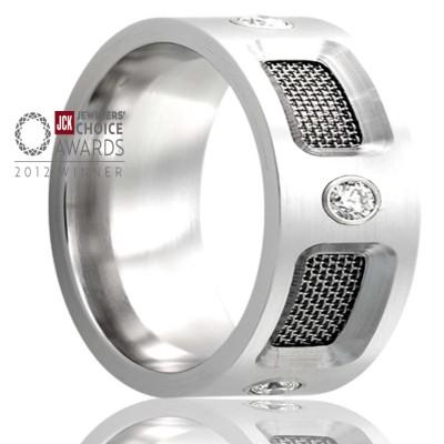 8mm Cobalt Pipe Cut Stainless Steel Mesh w/5 Diamonds-.06 CTW