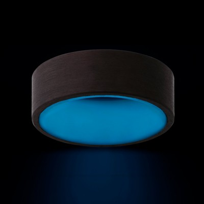 8mm Pipe Cut Glow Carbon Fiber Outside Band