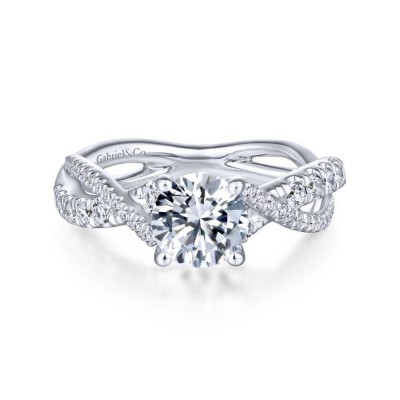 14K White Gold Round Diamond Twisted Engagement Ring