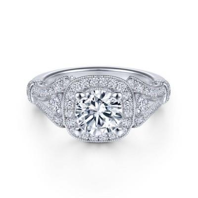 Vintage Inspired 14K White Gold Cushion Halo Round Diamond Engagement Ring