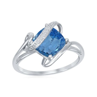 SS Square Cut Blue and White Topaz Ring