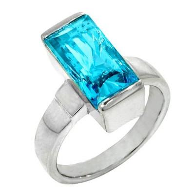 SS Fancy Cut Blue Topaz Ring