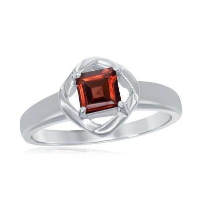 SS Square Cut Garnet Ring