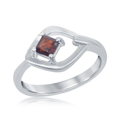 SS Square Cut Garnet Ring