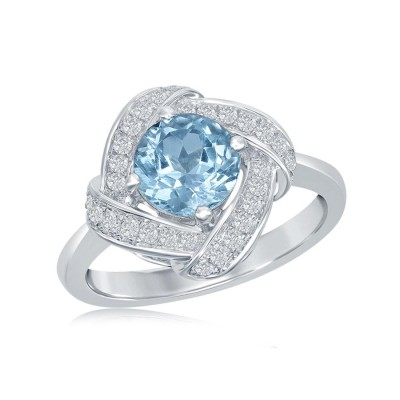 "Sterling Silver Blue and White Topaz ""Swirl"" Ring"