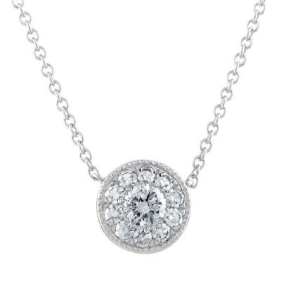 14kw .40ct tw Diamond Cluster Pendant