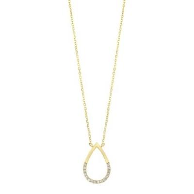 Diamond Half-Eternity Teardrop Pendant in 14k Yellow Gold (0.08ctw)