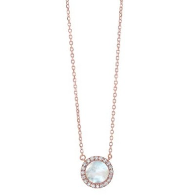 Diamond & Mother of Pearl Halo Pendant Necklace in 14k Rose Gold (1/10ctw)