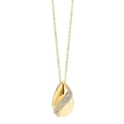 Diamond Teardrop Shell Pendant Necklace in Gold (0.08ctw)