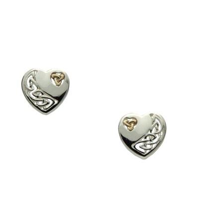 SS/10kt Celtic Heart Post Earrings