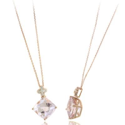 Morganite and Diamond Pendant