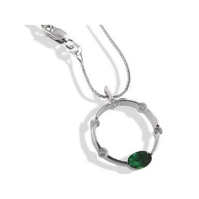 Oval Emerald and Diamond Circle Pendant
