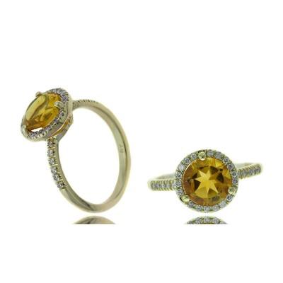 Round Citrine and Diamond Halo Ring