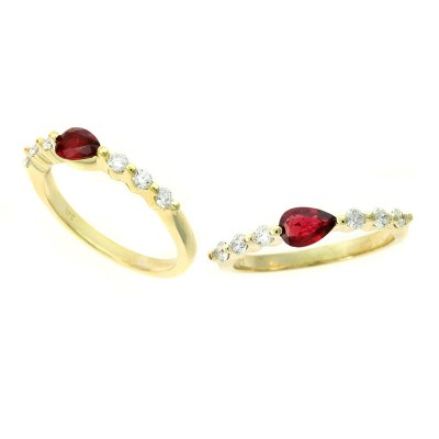 East/West Pear Shaped Ruby and Diamond Shared Prong Band