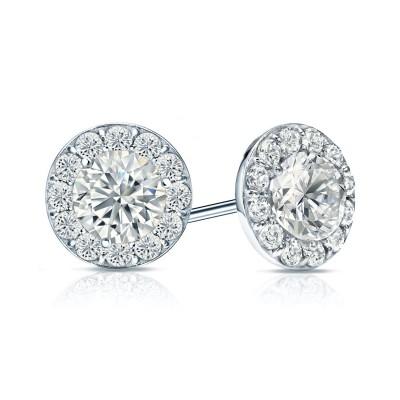 2CTW Diamond Halo Stud Earrings