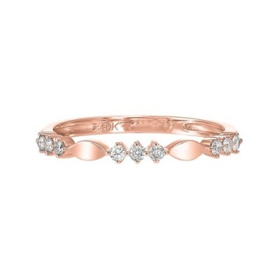 Diamond 3-Stone Marquise Pattern Stackable Ring in 10k Rose Gold (1/7ctw)