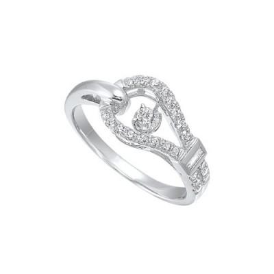 Diamond Anniversary Asymmetrical Ring in 14k White Gold (1/3ctw)