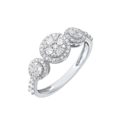Diamond Triple Halo Solitaire Engagement Ring in 14k White Gold (½ ctw)
