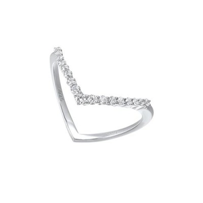 Diamond V-Shaped Stackable Wedding Ring in Sterling Silver (1/4ctw)