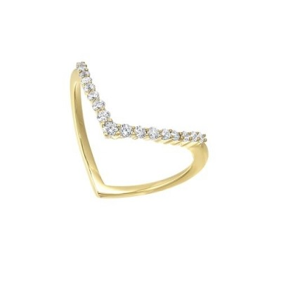 Diamond V-Shaped Stackable Wedding Ring in Yellow Gold (1/4ctw)