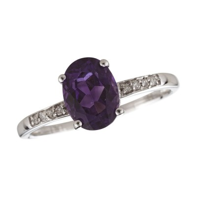 14W Amethyst and Diamond Birthstone Ring February