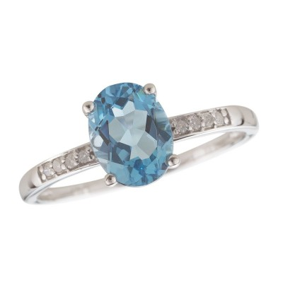 14W Swiss Blue Topaz and Diamond Birthstone Ring Dec
