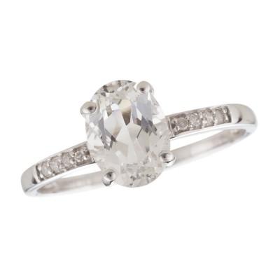 14W White Topaz and Diamond Birthstone Ring April