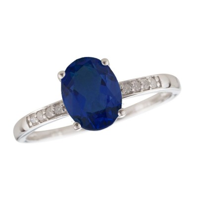 14W Blue Sapphire and Diamond Birthstone Ring September