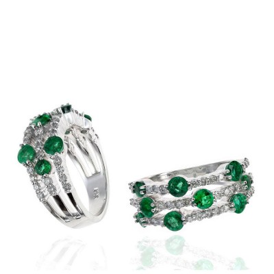 Round Emerald and Diamond Prong Set Triple Row Ring