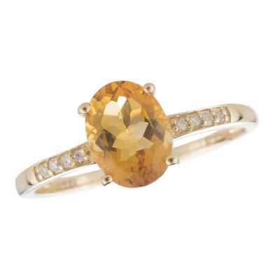 14Y Citrine and Diamond Birthstone Ring November