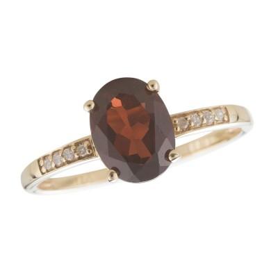 14Y Garnet and Diamond Birthstone Ring January