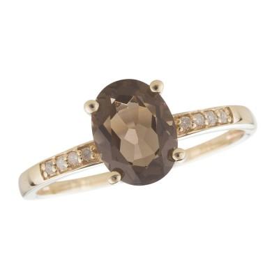 14Y Smokey Quartz and Diamond Birthstone Ring June