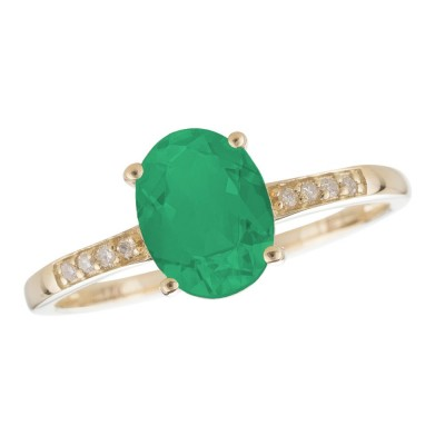 14KY Diamond and Emerald Ring