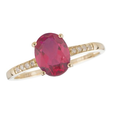 14Y Ruby and Diamond Birthstone Ring July