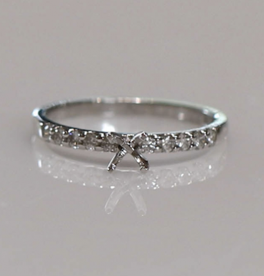 14kw .25cttw Shared Prong Engagement Ring Semi-Mounting