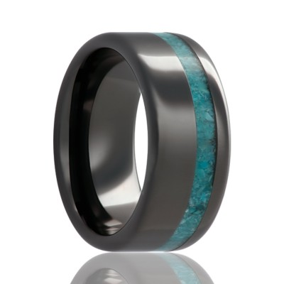 8mm Black Ceramic Pipe Cut Offset Turquoise Inlay