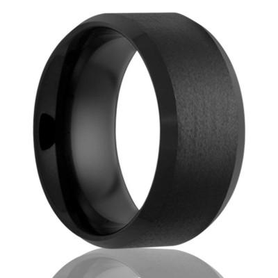 8mm Black Ceramic Bevel Edge Satin Center. Size 9